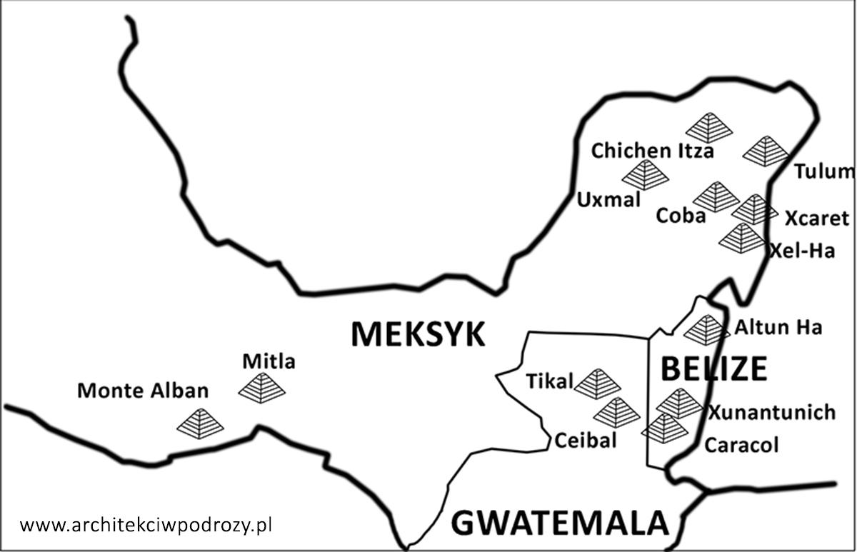 04 Mapa Majow - Meksyk śladami Majów