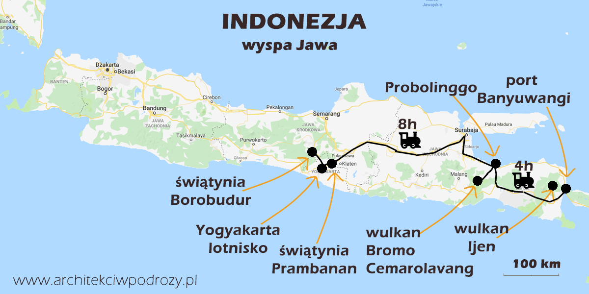 03 JAWA mapa r2 - Jawa: wulkan Ijen, Bromo, Yogyakarta i świątynie