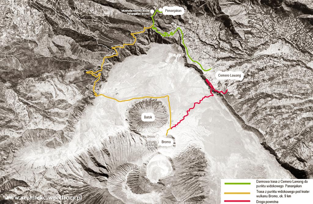 mapka trasa a - Jawa: wulkan Ijen, Bromo, Yogyakarta i świątynie