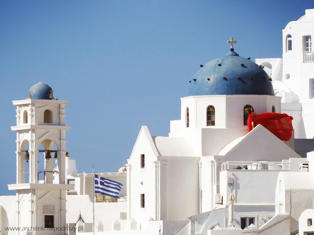 001 Santorini modelka - Greckie Santorini w listopadzie